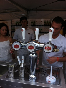 Stella Artois gave each guest a chalis of beer